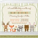 Woodland Animals Fox Deer Bear Neutral Baby Shower Invitation Editable PDF