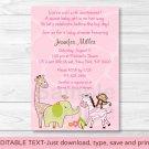 Safari Girl Jungle Animal Printable Baby Shower Invitation Editable PDF