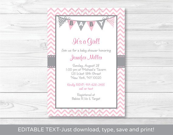 Modern Pink Chevron Printable Baby Shower Invitation Editable PDF
