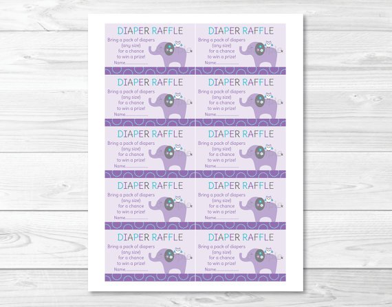 Mod Elephant Owl Forest Friends Printable Baby Shower Diaper Raffle Tickets #A100