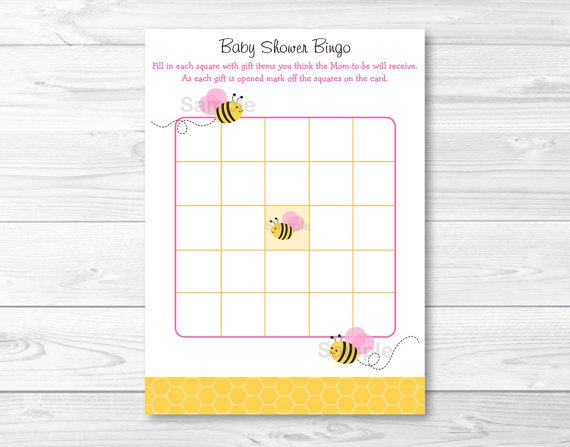 Pink Bumble Bee Printable Baby Shower Bingo Cards #A101