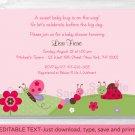 Baby Bugs Ladybug Butterfly Printable Baby Shower Invitation Editable PDF #A104