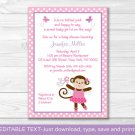 Pink Tutu Monkey Printable Baby Shower Invitation Editable PDF #A105