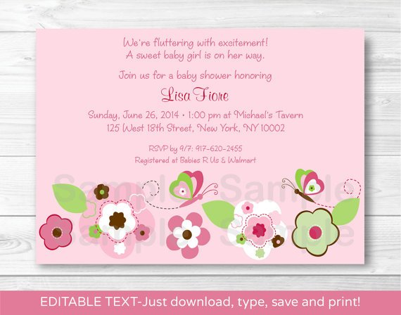 Pink Butterfly Flower Garden Printable Baby Shower Invitation Editable PDF #A106