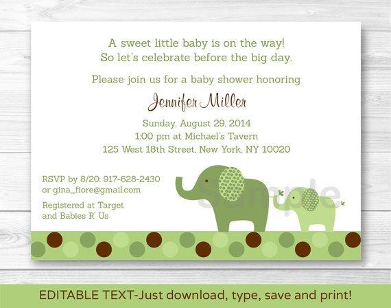 Green Polka Dot Elephant Printable Baby Shower Invitation Editable PDF #A107