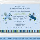 Lil Aviator Airplane Printable Baby Shower Invitation Editable PDF #A112