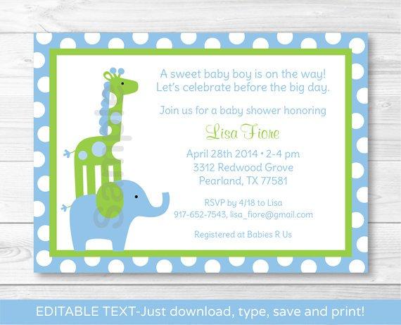 Mod Elephant Giraffe Jungle Printable Baby Shower Invitation Editable PDF #A113