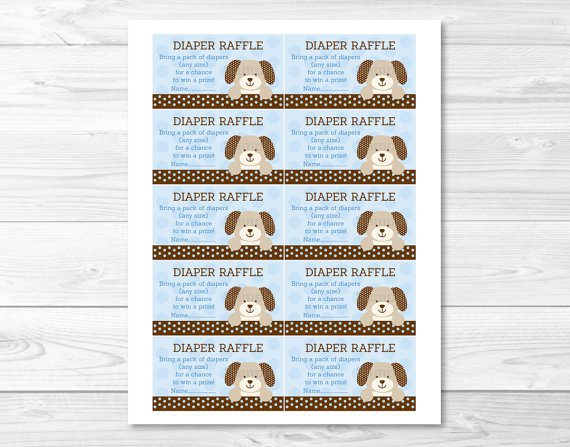 Polka Dot Puppy Dog Printable Baby Shower Diaper Raffle Tickets #A116