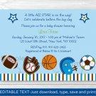 Sports Football Baseball Soccer Printable Baby Shower Invitation Editable PDF #A119