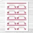 Pink Ladybug Garden Printable Baby Shower Diaper Raffle Tickets #A122