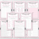 Modern Pink Chevron Baby Shower Games Pack - 8 Printable Games #A127