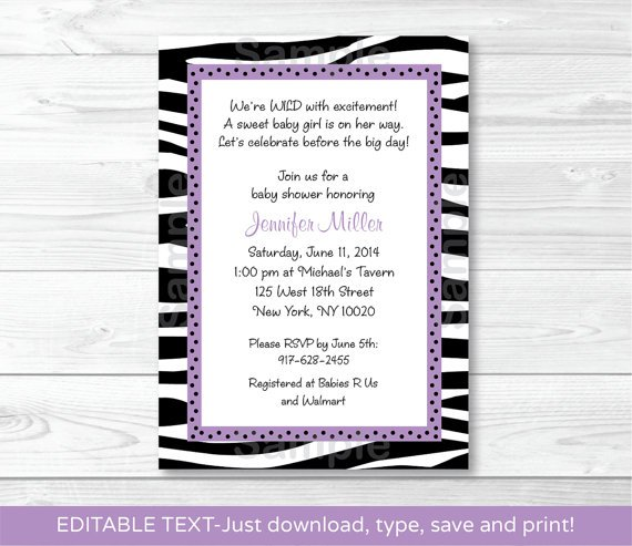 Sassy Zebra Printable Baby Shower Invitation Editable PDF #A130