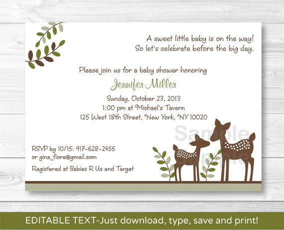 Woodland Baby Deer Neutral Printable Baby Shower Invitation Editable PDF #A131