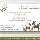 Woodland Baby Deer Neutral Printable Baby Shower Invitation Editable PDF #A131
