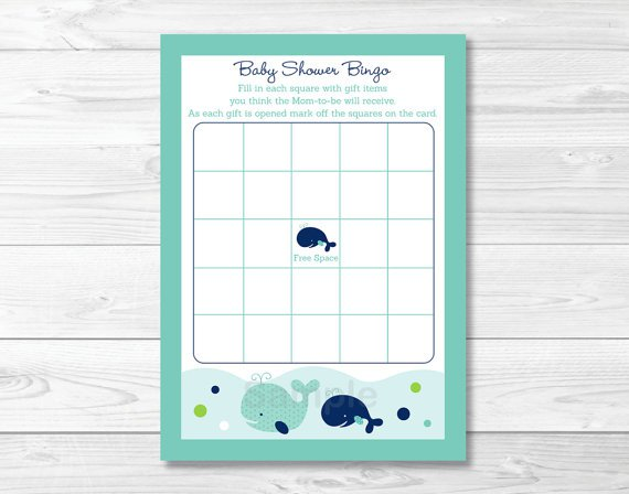 Little Blue Whale Nautical Printable Baby Shower Bingo Cards #A129