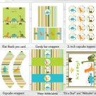 Dinosaur Friends Baby Boy Printable Baby Shower Party Package #A132