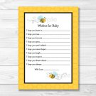 Sweet Little Bumble Bee Printable Baby Shower Wishes For Baby Advice Cards #A134