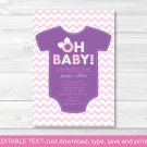 """oh Baby!"" Pink Chevron Baby Girl Printable Baby Shower Invitation Editable PDF #A139"