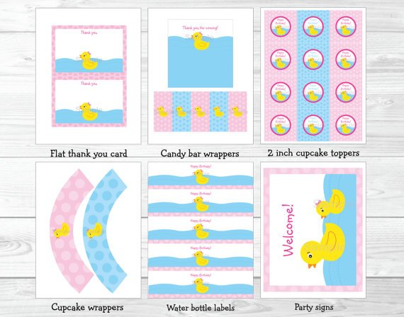 Pink Rubber Duck Printable Birthday Party Package #A141