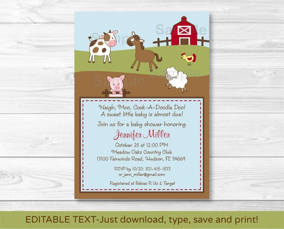 Farm Babies Cow Horse Pig Sheep Printable Baby Shower Invitation Editable PDF #A146