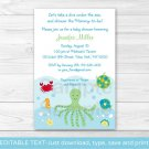 Under The Sea Calypso Octopus Crab Printable Baby Shower Invitation Editable PDF #A150