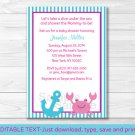 Pink Crab Under The Sea Nautical Printable Baby Shower Invitation Editable PDF #A151