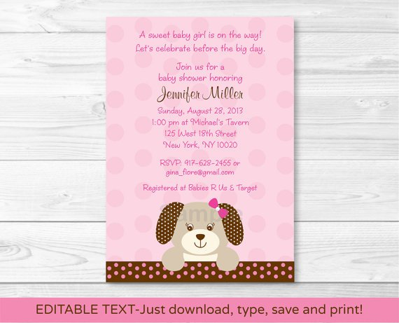 Pink Puppy Dog Polka Dot Girls Printable Baby Shower Invitation Editable PDF #A152