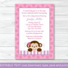 Lil Girl Monkey Jungle Safari Printable Baby Shower Invitation Editable PDF #A153