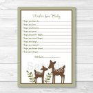 Woodland Baby Deer Printable Baby Shower Wishes For Baby Advice Cards #A131
