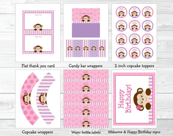 Mod Girl Monkey Pink And Purple Printable Birthday Party Package #A161