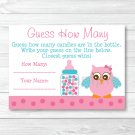 "Pink Owl Printable Baby Shower ""Guess How Many?"" Game Cards #A162"