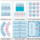 Pink Under The Sea Octopus Turtle Nautical Printable Baby Shower Party Package #A145