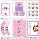 Lil Monkey Girl Jungle Safari Pink Purple Printable Baby Shower Party Package #A153