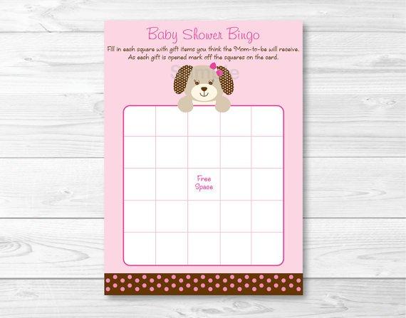 Pink Polka Dot Puppy Dog Printable Baby Shower Bingo Cards #A152