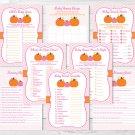 Pink Pumpkin Chevron Baby Shower Games Pack - 8 Printable Games #A166