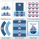 Sail Away Sailboat Nautical Blue Printable Birthday Party Package #A168