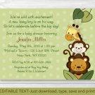 Jungle Animals Safari Friends Printable Baby Shower Invitation Editable PDF #A169