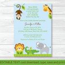 Blue Safari Jungle Animals Printable Baby Shower Invitation Editable PDF #A170