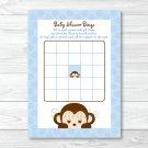 Mod Pop Monkey Blue Printable Baby Shower Bingo Cards #A175