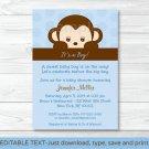 Mod Pop Monkey Blue Printable Baby Shower Invitation Editable PDF #A175
