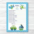 Car Truck Boat Plane Printable Baby Shower Wishes For Baby Advice Cards #A143
