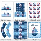 Sail Away Sailboat Nautical Blue Printable Baby Shower Party Package #A123
