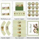Jungle Friends Animal Safari Printable Baby Shower Party Package #A169