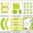 Bright Safari Jungle Animals Printable Birthday Party Package #A179