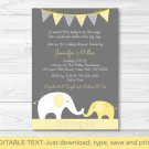Yellow Chevron Elephant Mom & Baby Printable Baby Shower Invitation Editable PDF #A181
