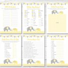 Yellow Chevron Elephant Baby Shower Games Pack - 6 Printable Games #A181