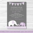 Purple Chevron Elephant Mom & Baby Printable Baby Shower Invitation Editable PDF #A184