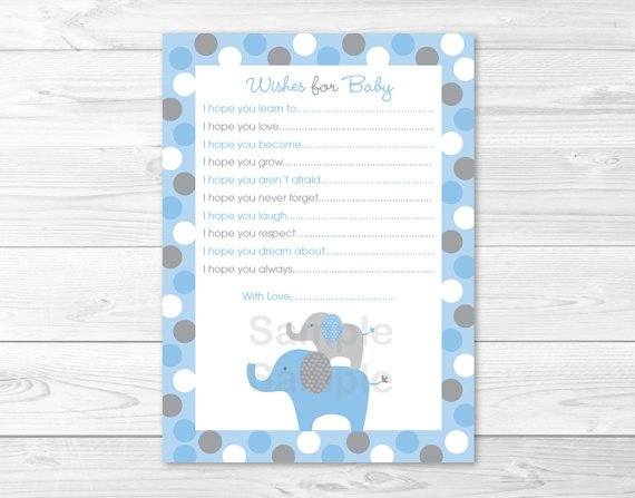 Blue Grey Polka Dot Elephants Printable Baby Shower Wishes For Baby Advice Cards #A135
