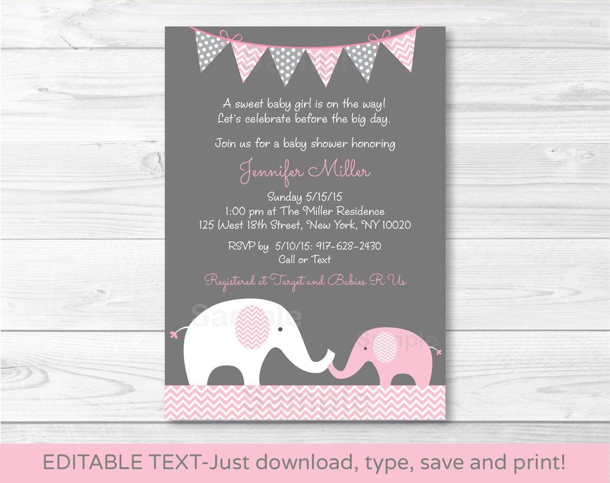Pink Chevron Elephant Mom & Baby Printable Baby Shower Invitation Editable PDF #A186