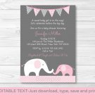 Pink Chevron Elephant Mom & Baby Printable Baby Shower Invitation Editable PDF #A186